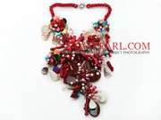 Elegant Coral and Multi Color Shell Flower Party Necklace