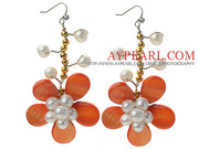 Freshwater Pearl Crystal and Shell Flower Earrings